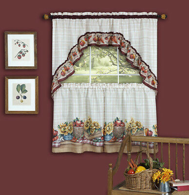 Chardonnay Kitchen Curtain With Swag And Tier Set 36 In Pertaining To Chardonnay Tier And Swag Kitchen Curtain Sets (View 6 of 50)