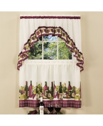 Chardonnay Printed Tier And Swag Window Curtain Set, 57X36 With Regard To Chateau Wines Cottage Kitchen Curtain Tier And Valance Sets (View 6 of 30)
