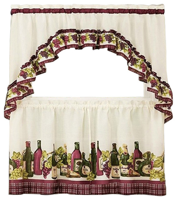 "Chardonnay Tier And Swag Set, Burgundy, Set Of 2, 36"" Throughout Chardonnay Tier And Swag Kitchen Curtain Sets (View 4 of 50)"