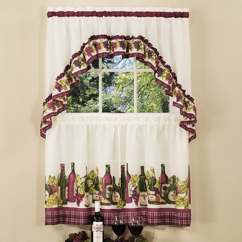 Chardonnay Wine Bottle 3 Piece Tier Swag Kitchen Window Pertaining To Embroidered 'coffee Cup' 5 Piece Kitchen Curtain Sets (View 11 of 30)