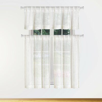 Charlton Home Hayslett 3 Piece Semi Sheer Kitchen Curtain For Semi Sheer Rod Pocket Kitchen Curtain Valance And Tiers Sets (View 4 of 50)