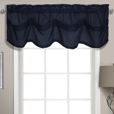 "Charlton Home Rutherford Sheer Voile Tuck 56"" Window Valance Throughout Navy Vertical Ruffled Waterfall Valance And Curtain Tiers (View 5 of 30)"