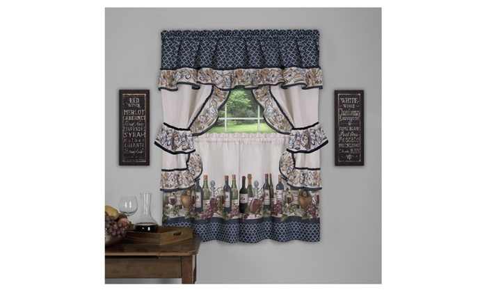 Chateau Cottage Set – 57X24 – Navy Throughout Chateau Wines Cottage Kitchen Curtain Tier And Valance Sets (View 7 of 30)