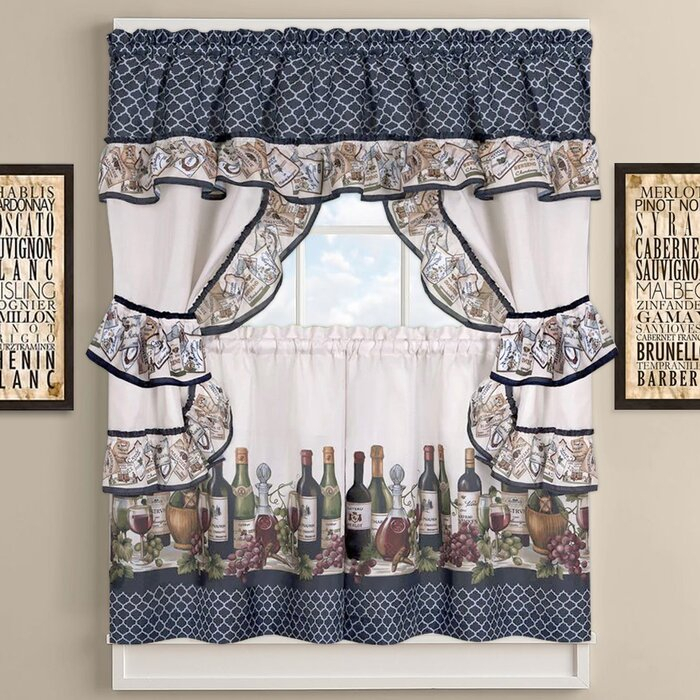 Chateau Wines Cottage Kitchen Curtains Pertaining To Cottage Ivy Curtain Tiers (#13 of 49)