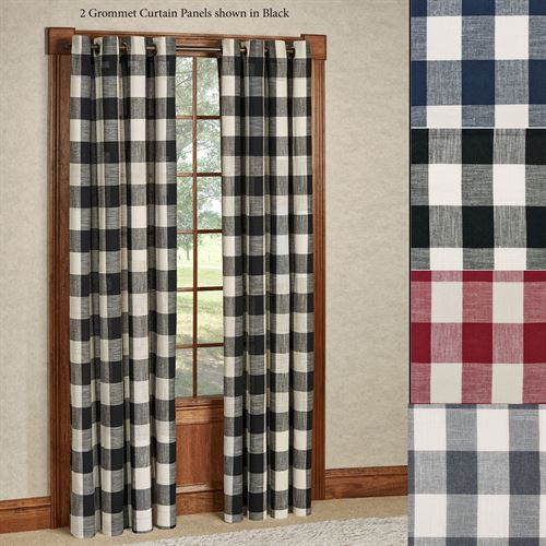 Checkerboard Grommet Window Treatment With Classic Navy Cotton Blend Buffalo Check Kitchen Curtain Sets (View 7 of 30)