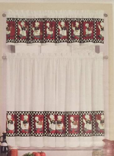 Chef Kitchen Window Tier And Valance Set With Embroidered 'coffee Cup' 5 Piece Kitchen Curtain Sets (View 12 of 30)