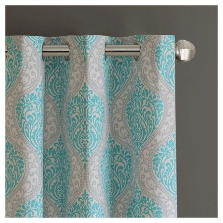 Chelsea Damask Printed Grommet Top Curtain Panel Pair Aqua Throughout Pastel Damask Printed Room Darkening Kitchen Tiers (#11 of 50)