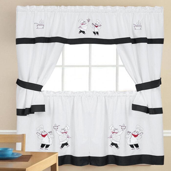 Chesson Kitchen Curtain Pertaining To Embroidered Chef Black 5 Piece Kitchen Curtain Sets (View 9 of 42)