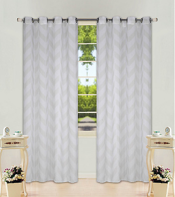 Chevron Stripe Ivory Cream Grommet Voile Sheer Window Intended For Micro Striped Semi Sheer Window Curtain Pieces (#4 of 30)