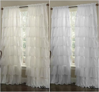 Chezmoi Collection 2Pc Crushed Shabby Voile Sheer Chic Ruffle Curtain  Panels | Ebay Intended For Elegant Crushed Voile Ruffle Window Curtain Pieces (View 13 of 45)