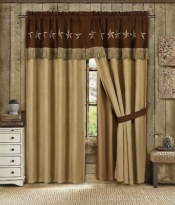 Chezmoi Collection 4Pc Microsuede Embroidered Western Star With Regard To Abby Embroidered 5 Piece Curtain Tier And Swag Sets (View 7 of 30)