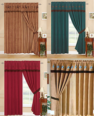 Chezmoi Collection 4Pc Microsuede Embroidered Western Star Within Abby Embroidered 5 Piece Curtain Tier And Swag Sets (View 8 of 30)