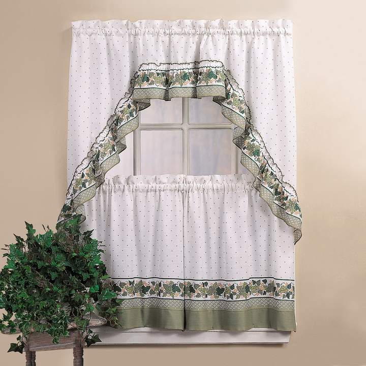 Chf Cottage Ivy 36 Valance Tier Set In 2019 | Products Pertaining To Micro Striped Semi Sheer Window Curtain Pieces (#5 of 30)