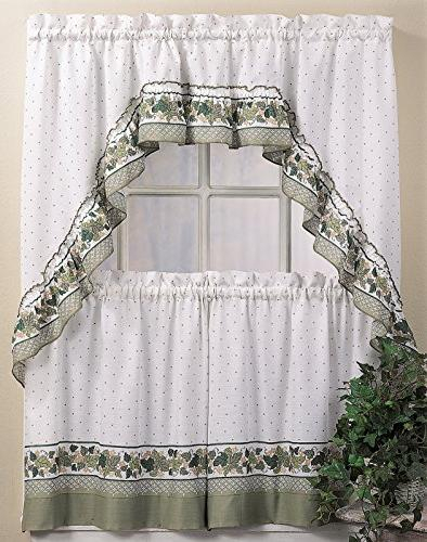Popular Photo of Cottage Ivy Curtain Tiers