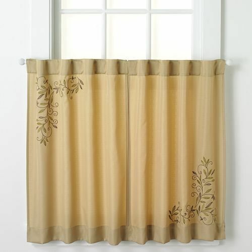 Chf Industries Scroll Leaf One Pair Back Tab Window Tiers With Hopscotch 24 Inch Tier Pairs In Neutral (View 6 of 30)