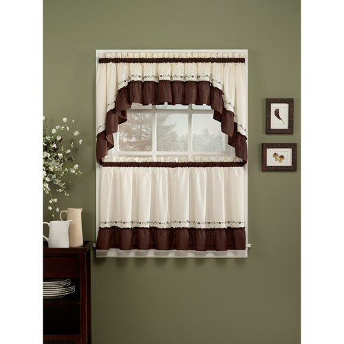 Chf & You Jayden Kitchen Curtains, Set Of 2 – Walmart In Embroidered Floral 5 Piece Kitchen Curtain Sets (View 4 of 30)