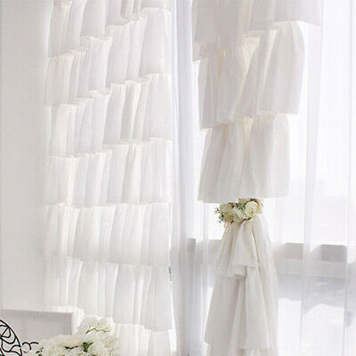 Chic Sheer Voile Ruffled Tier Window Curtain Layers Princess Panel Home  Decor | Ebay Inside Chic Sheer Voile Vertical Ruffled Window Curtain Tiers (View 10 of 50)