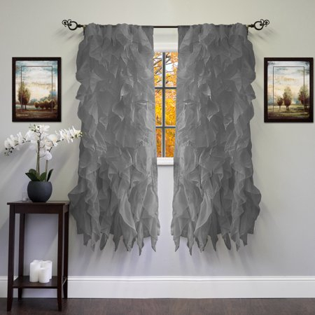Chic Sheer Voile Vertical Ruffled Tier Window Curtain Panel Inside Navy Vertical Ruffled Waterfall Valance And Curtain Tiers (View 2 of 30)