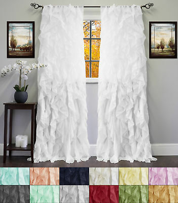 Popular Photo of Navy Vertical Ruffled Waterfall Valance And Curtain Tiers