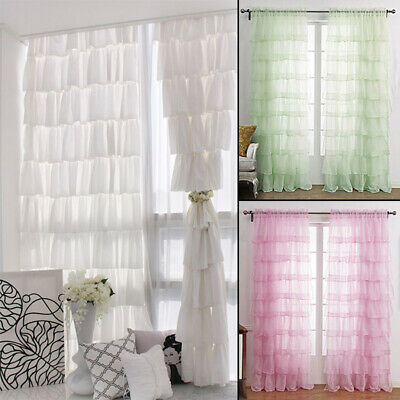 Chic Sheer Voile Vertical Ruffled Tier Window Curtain Single With Chic Sheer Voile Vertical Ruffled Window Curtain Tiers (View 15 of 50)