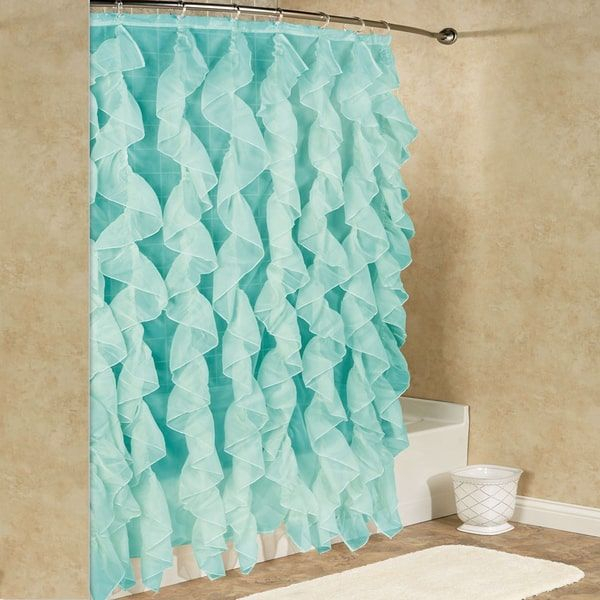 Chic Sheer Voile Vertical Waterfall Ruffled Shower Curtain Pertaining To Silver Vertical Ruffled Waterfall Valance And Curtain Tiers (View 4 of 50)