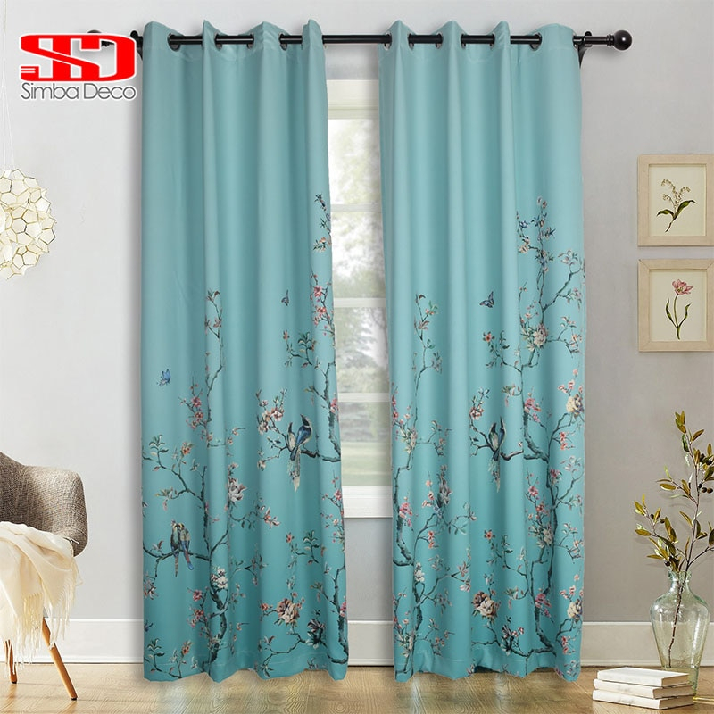 Chinese Gradient Birds Butterfly Blackout Curtains For Living Room Green  Printed Drapes For Bedroom Window Treatments Floral Intended For Pastel Damask Printed Room Darkening Kitchen Tiers (#12 of 50)