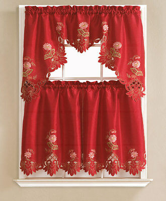 Cindy Flower Embroidered 3 Piece Kitchen Curtain Set Within 5 Piece Burgundy Embroidered Cabernet Kitchen Curtain Sets (#17 of 50)