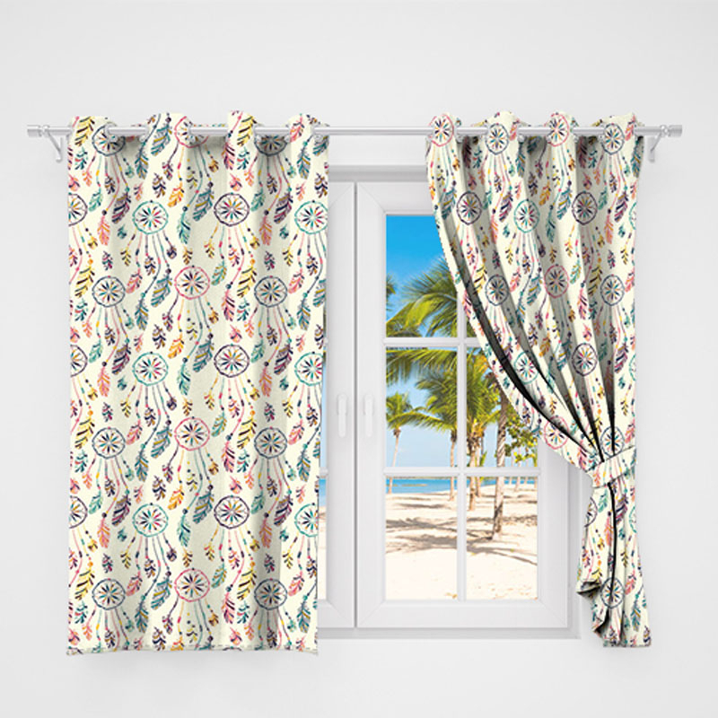 Circle Feather Colorful Country Rustic Curtain Valance Modern Simple For Circle Curtain Valances (View 6 of 30)