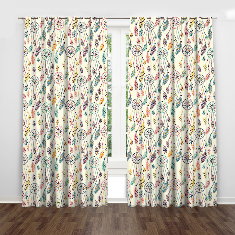Circle Feather Colorful Country Rustic Curtain Valance Modern Simple Pertaining To Circle Curtain Valances (View 7 of 30)