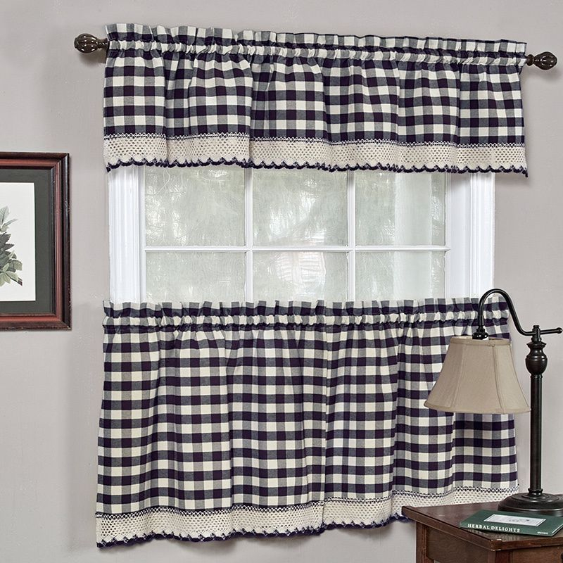 Popular Photo of Classic Navy Cotton Blend Buffalo Check Kitchen Curtain Sets