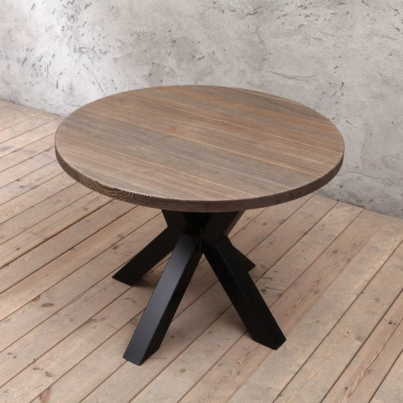 Clyde Round Bar Tables Within Preferred Clyde Round Solid Wood Industrial Dining Table (#7 of 20)