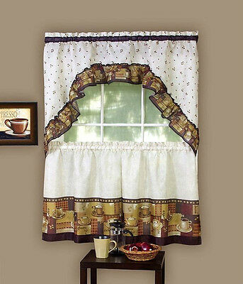 Coffee Complete Kitchen Curtain Tier And Swag Valance Set With Regard To Coffee Embroidered Kitchen Curtain Tier Sets (View 9 of 30)