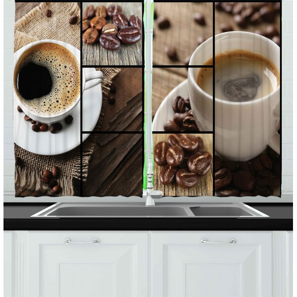 Coffee Themed Kitchen Curtains | Wayfair Regarding Coffee Drinks Embroidered Window Valances And Tiers (View 12 of 45)
