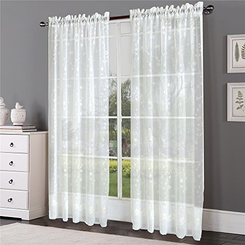 Comforhome 52 Inch By 72 Inch Embroidery Sheer Curtain With With Embroidered Rod Pocket Kitchen Tiers (View 9 of 49)