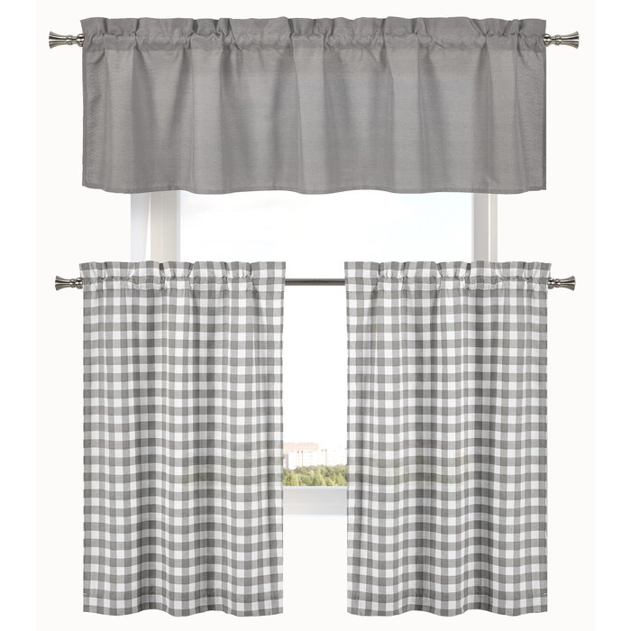 "Cosima 3 Piece Complete Plaid Country 58"" Kitchen Curtain Set Inside Lodge Plaid 3 Piece Kitchen Curtain Tier And Valance Sets (#9 of 30)"