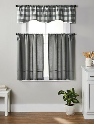 Country Accents Burgundy Plaid Buffalo Check Kitchen Curtain Pertaining To Lodge Plaid 3 Piece Kitchen Curtain Tier And Valance Sets (#11 of 30)