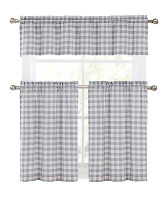 Country Accents Burgundy Plaid Buffalo Check Kitchen Curtain With Kitchen Burgundy/white Curtain Sets (#17 of 50)
