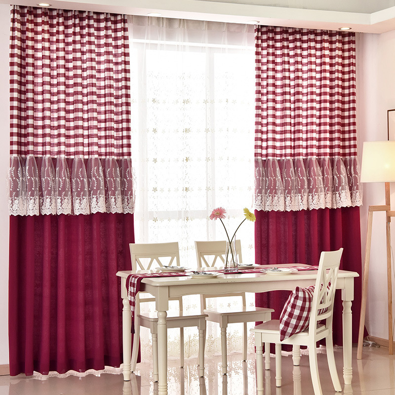 Country Burgundy Red Plaid Buffalo Check Lace Trim Dining Room Curtains Intended For Burgundy Cotton Blend Classic Checkered Decorative Window Curtains (View 12 of 30)