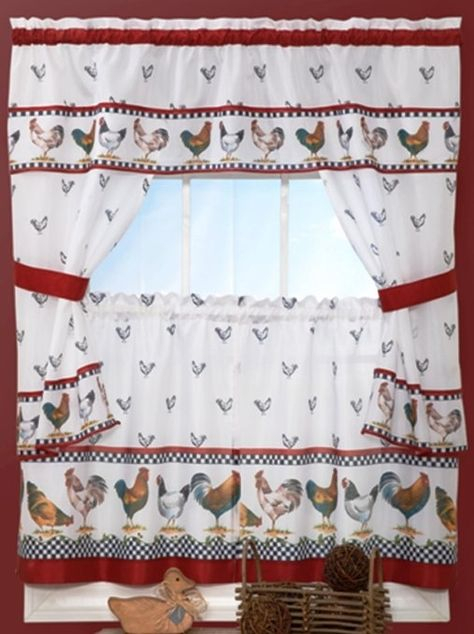 Country Chicken Window Kitchen Curtain Set Valance + 24 Inside 5 Piece Burgundy Embroidered Cabernet Kitchen Curtain Sets (#19 of 50)