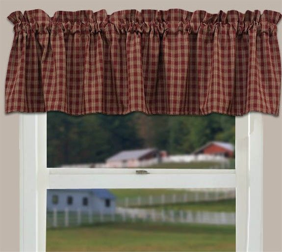 Country Curtain Valance (Sturbridge Wine) Primitive Kitchen Within Red Primitive Kitchen Curtains (View 5 of 30)