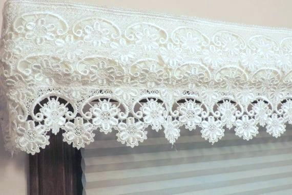 Country Curtains Lace Valance – Socialwear With Country Style Curtain Parts With White Daisy Lace Accent (View 13 of 50)