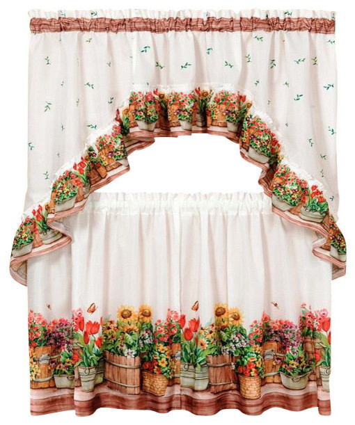 "Country Garden Printed Tier And Swag Set, 57""x24"" Tier Pair/57""x30"" Swag, Multi For Chardonnay Tier And Swag Kitchen Curtain Sets (View 12 of 50)"