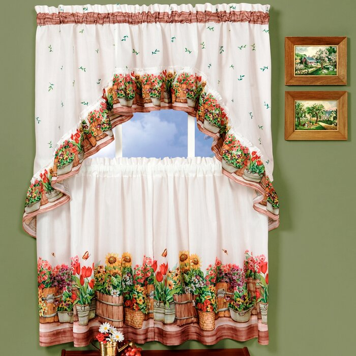 Country Garden Valance And Tier Set For Chateau Wines Cottage Kitchen Curtain Tier And Valance Sets (View 11 of 30)