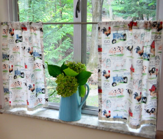 Country Kitchen Farmhouse Cafe Curtains . Barnyard Lightweight Tiers . Half  Curtains , Lace Trim  (View 20 of 50)