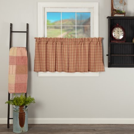 Country Red Farmhouse Kitchen Curtains Miller Farm Charcoal Within Farmhouse Stripe Kitchen Tier Pairs (View 5 of 30)