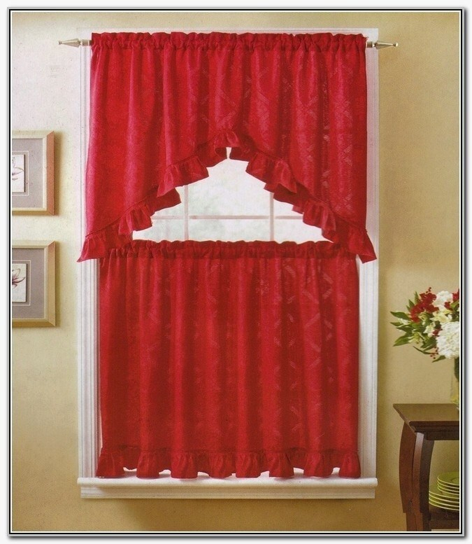 Country Red Kitchen Curtains – Camata (#7 of 50)