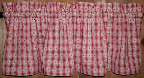 Country Red Star Plaid Americana Valances Tiers Runners Red Barn Star  Country Curtains Primitive Kitchen Decor Cabin Patriotic Free Shipping Within Red Primitive Kitchen Curtains (View 6 of 30)