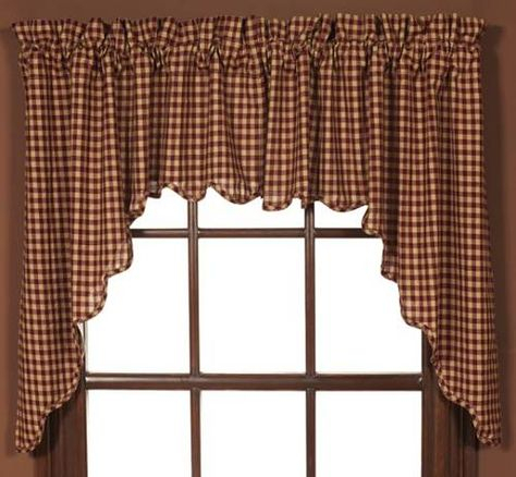 Country Valances And Swags | Burgundy Check Swag Set Of 2 Intended For Check Scalloped Swag Sets (View 13 of 30)