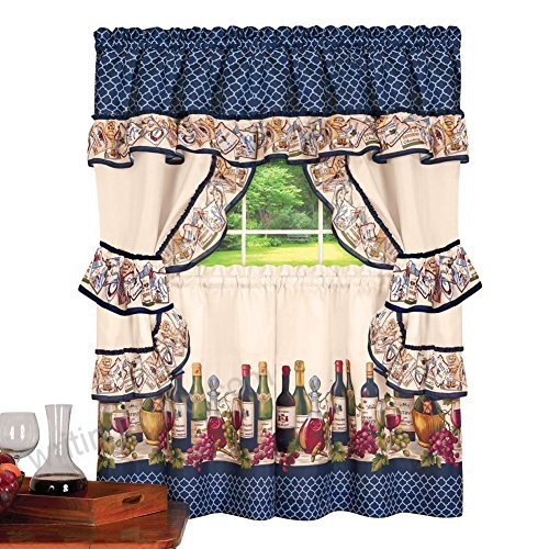 Country Wine, Vineyard Scene Rod Pocket Top Window Curtain Pertaining To Embroidered Rod Pocket Kitchen Tiers (View 10 of 49)