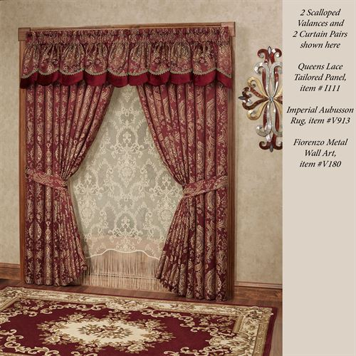 Courtland Cordovan Medallion Scalloped Valance Window Treatment Within Imperial Flower Jacquard Tier And Valance Kitchen Curtain Sets (#11 of 46)